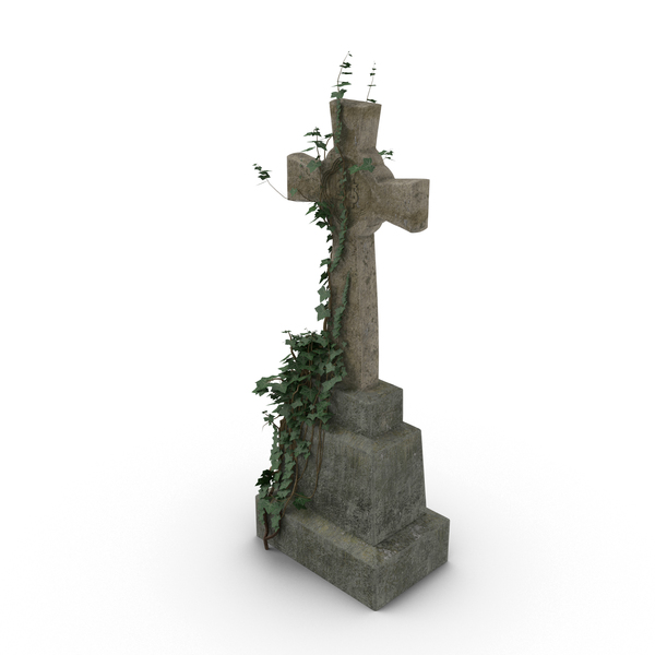 Headstone with Cross - Cemetery Gates PNG