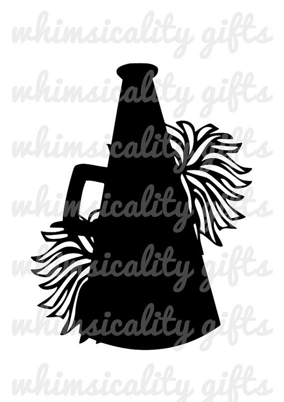 Digital File - Cheerleading Megaphone with Pom Poms with SVG, DXF, PNG  Commercial u0026 - Cheer Megaphone And Poms PNG