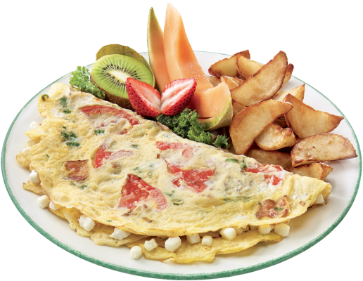 Goat cheese, tomatoes and bacon omelette - Cheese Omelette PNG