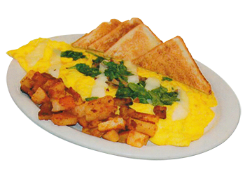 Three eggs, fresh spinach u0026 mushrooms with Provolone cheese. Served with  homefries, toast u0026 jelly. - Cheese Omelette PNG