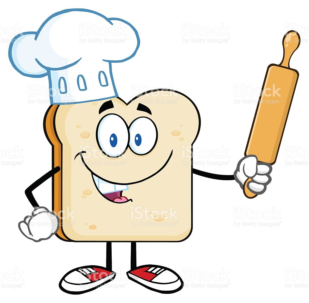 Chef Bread Slice Holding A Rolling Pin royalty-free stock vector art - Chef Hat Rolling Pin PNG