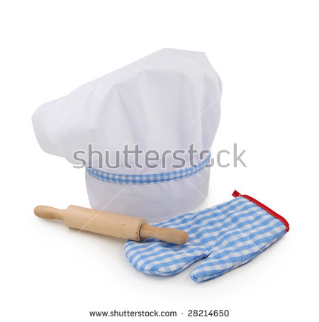 Chef hat,rolling pin and glove isolated on white background - Chef Hat Rolling Pin PNG