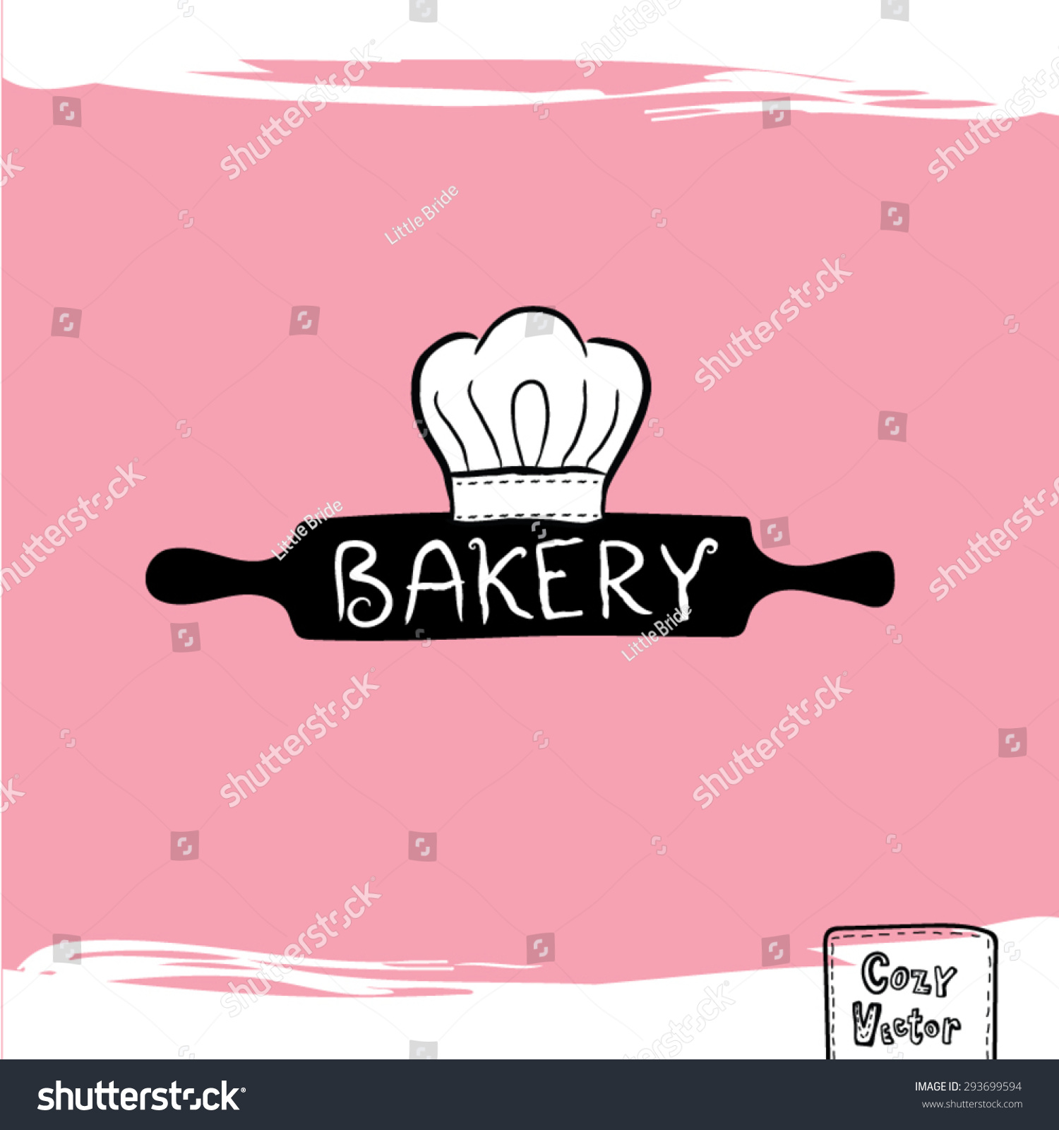 Hand drawing rolling pin with chef hat logo vector. - Chef Hat Rolling Pin PNG