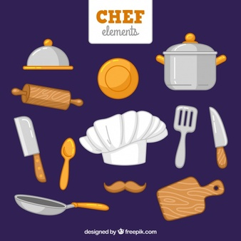 Hand-drawn chef hat and other items - Chef Hat Rolling Pin PNG