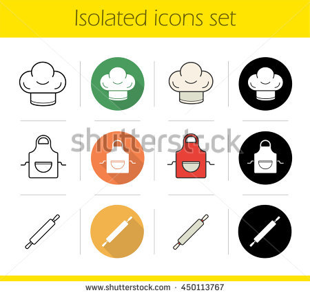 Kitchen accessories icons set. Flat design, linear, black and color styles.  Chefu0027s - Chef Hat Rolling Pin PNG