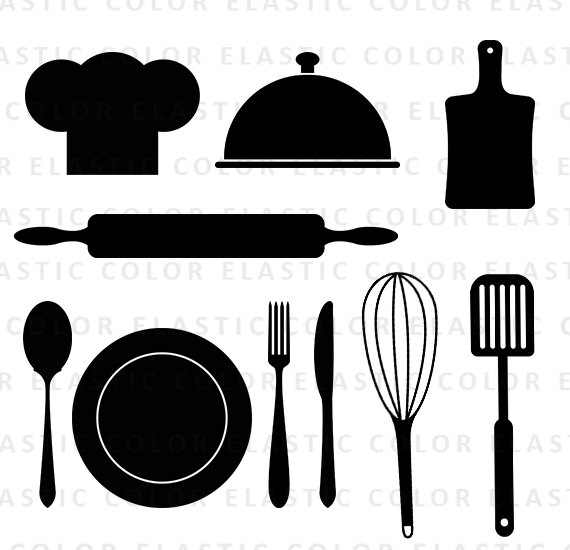 Kitchen svg - kitchen utensils clipart - restaurant clip art - chef hat,  spoon , fork, rolling pin vector digital files svg, dxf, eps, png from  elasticcolor PlusPng.com  - Chef Hat Rolling Pin PNG