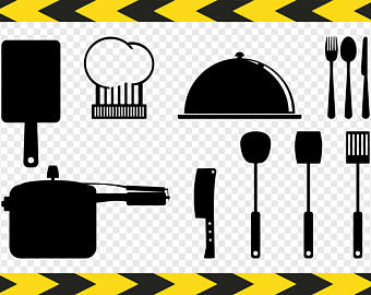 Kitchen utensils SVG files Fork Spoon Rolling pin Chef hat Butcher knife  Pressure cooker Pot Clipart - Chef Hat Rolling Pin PNG