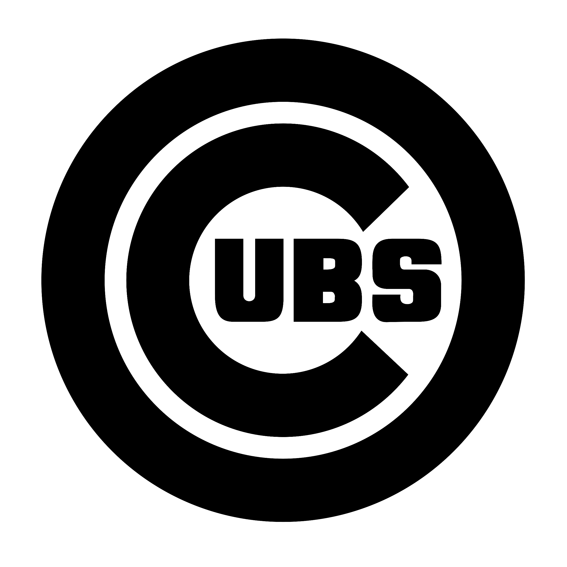 Chicago Cubs logo black and white - Chicago Cubs Logo PNG