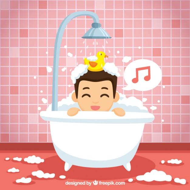 Nice boy singing in the bathroom Free Vector - Child Taking A Shower Bath PNG