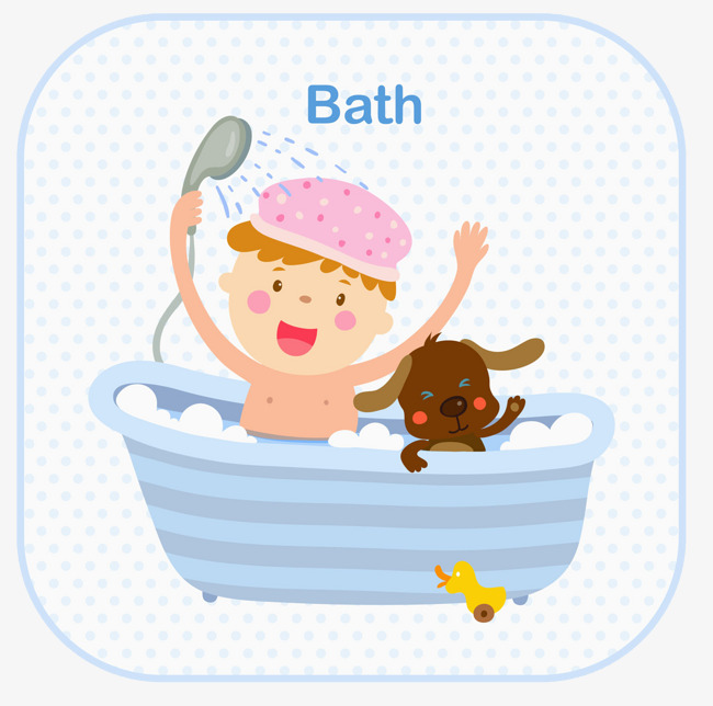 The child took a bath with the dog, Take A Shower, Bath, Wash - Child Taking A Shower Bath PNG