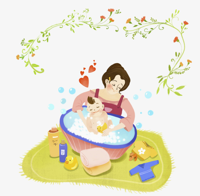 The mother who bathed the baby, Take A Shower, Bath, Wash Free PNG Image - Child Taking A Shower Bath PNG