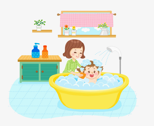 The child took a bath with th