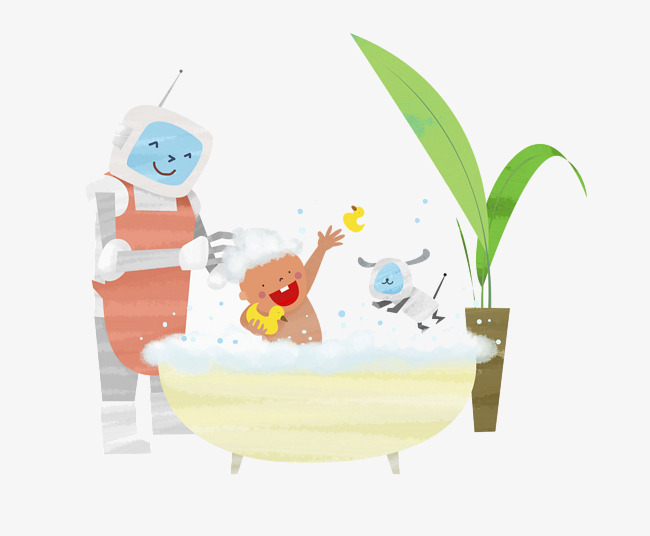 The robot takes a bath for the child, Take A Shower, Bath, Wash Free PNG  Image - Child Taking A Shower Bath PNG