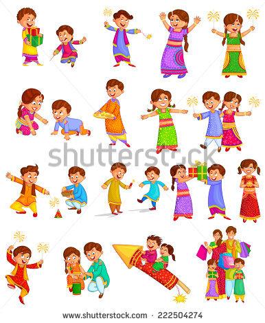 Family enjoying firecracker celebrating Diwali in vector - Children Celebrating Diwali PNG