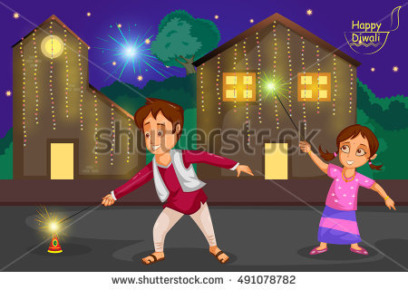Kids enjoying firecracker celebrating Diwali festival of India in vector - Children Celebrating Diwali PNG