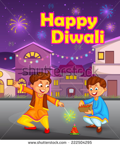 kids enjoying firecracker celebrating Diwali in vector - Children Celebrating Diwali PNG