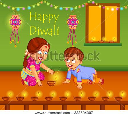 kids with diya celebrating Diwali in vector - Children Celebrating Diwali PNG