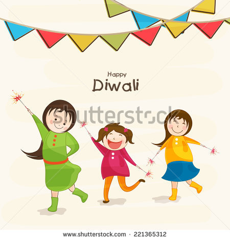 Little cute kids holding fire crackers and stylish text of Diwali for Diwali  celebration on beige - Children Celebrating Diwali PNG