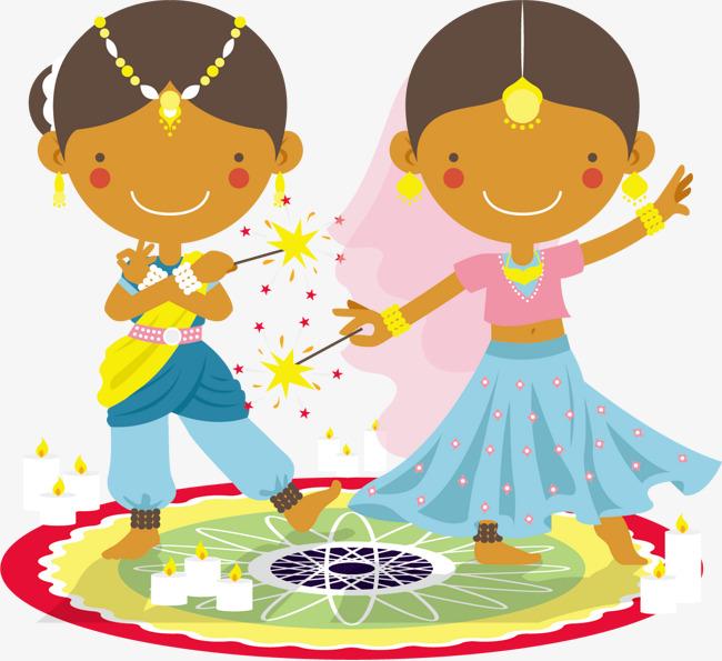 Vector India Diwali Deepavali, Vector, India, Indian PNG and Vector - Children Celebrating Diwali PNG