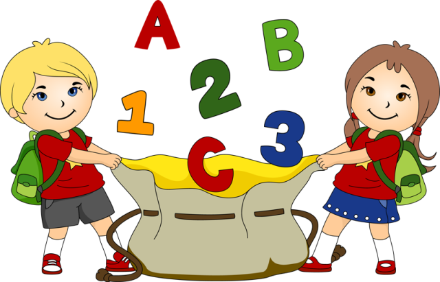 Great Clip Art for Back To School: Kids With a Bag of ABCu0027s - Children Having Fun At School PNG