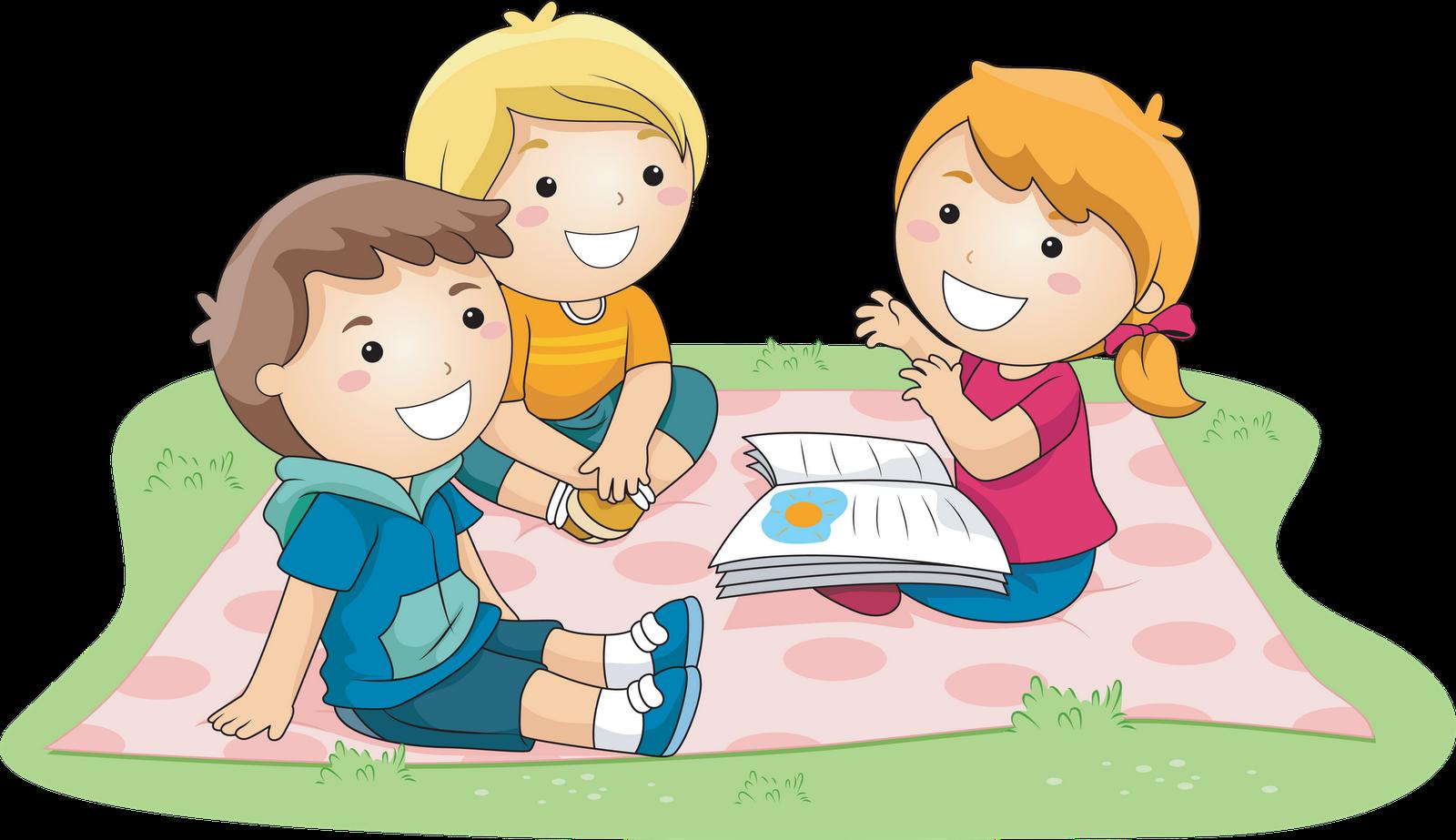 Kids Outside Reading - Children HD PNG