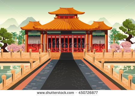 A vector illustration of Chinese temple background - Chinese Temple PNG HD