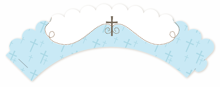 Cross Blue - Baptism / Christening Cupcake Wrappers - Christening PNG HD