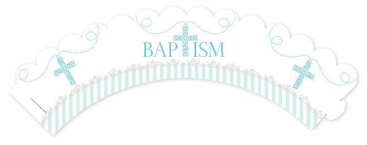 Cross Blue Necklace - Baptism / Christening Cupcake Wrappers - Christening PNG HD