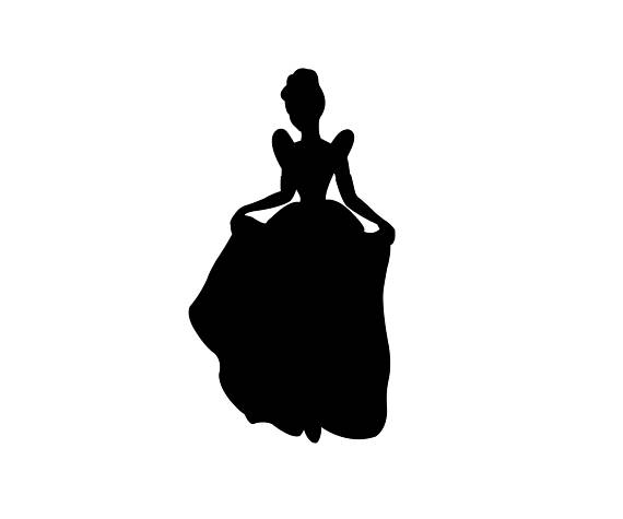 Cinderella Silhouette Vector - SVG and PNG Digital Download - vector graphic - Cinderella Silhouette PNG HD