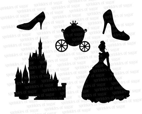 Cinderella Silhouettes // Cinderella Disney Castle Silhouette //  Cinderellau0027s Shoe Clip Art Clipart // Disney Princess Silhouettes - Cinderella Silhouette PNG HD