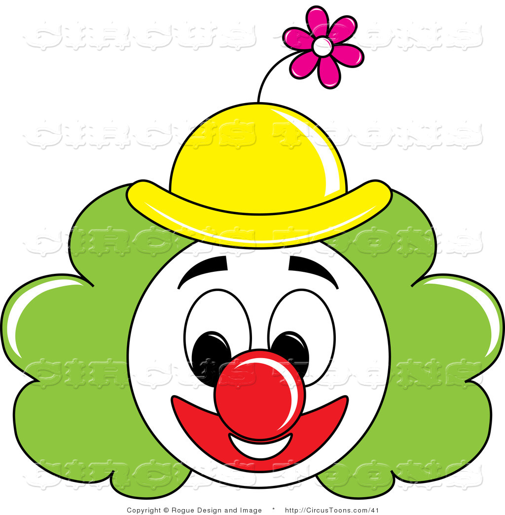 Circus Clipart Of A Grinning Painted Clown Face With Green Hair And A - Circus Joker Face PNG