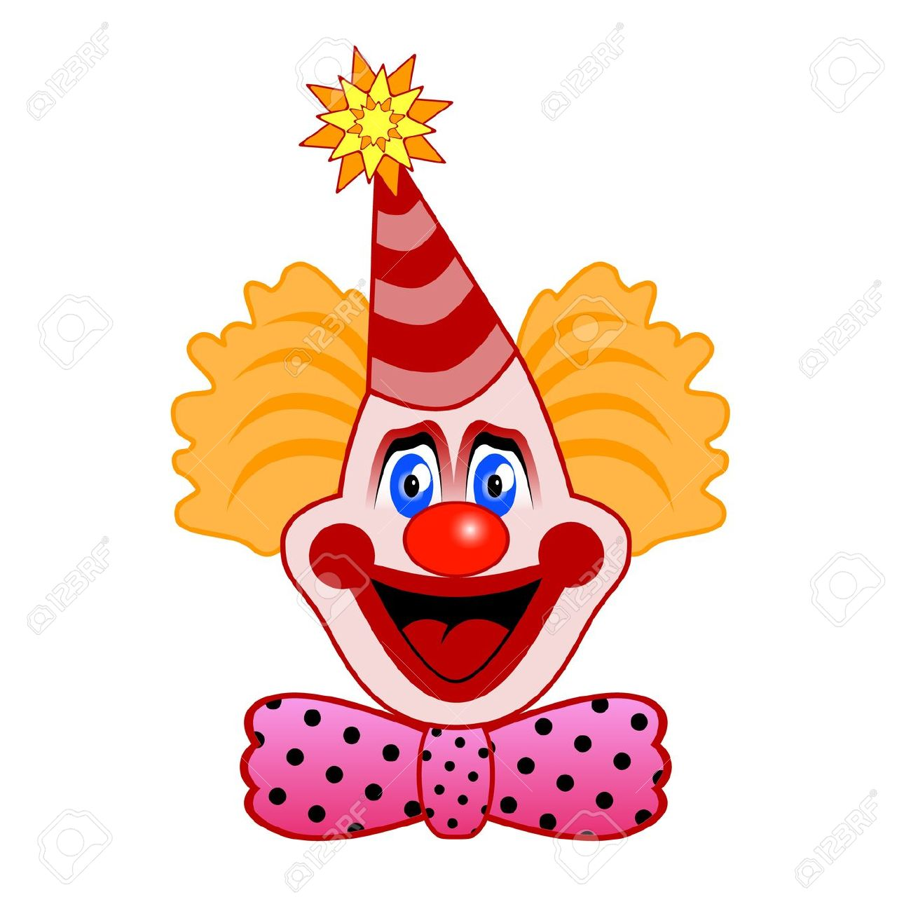 clown face: Head of clown with a bow tie - Circus Joker Face PNG