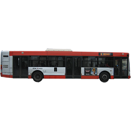 A cutout side view of a Roman city bus. - City Bus Side View PNG