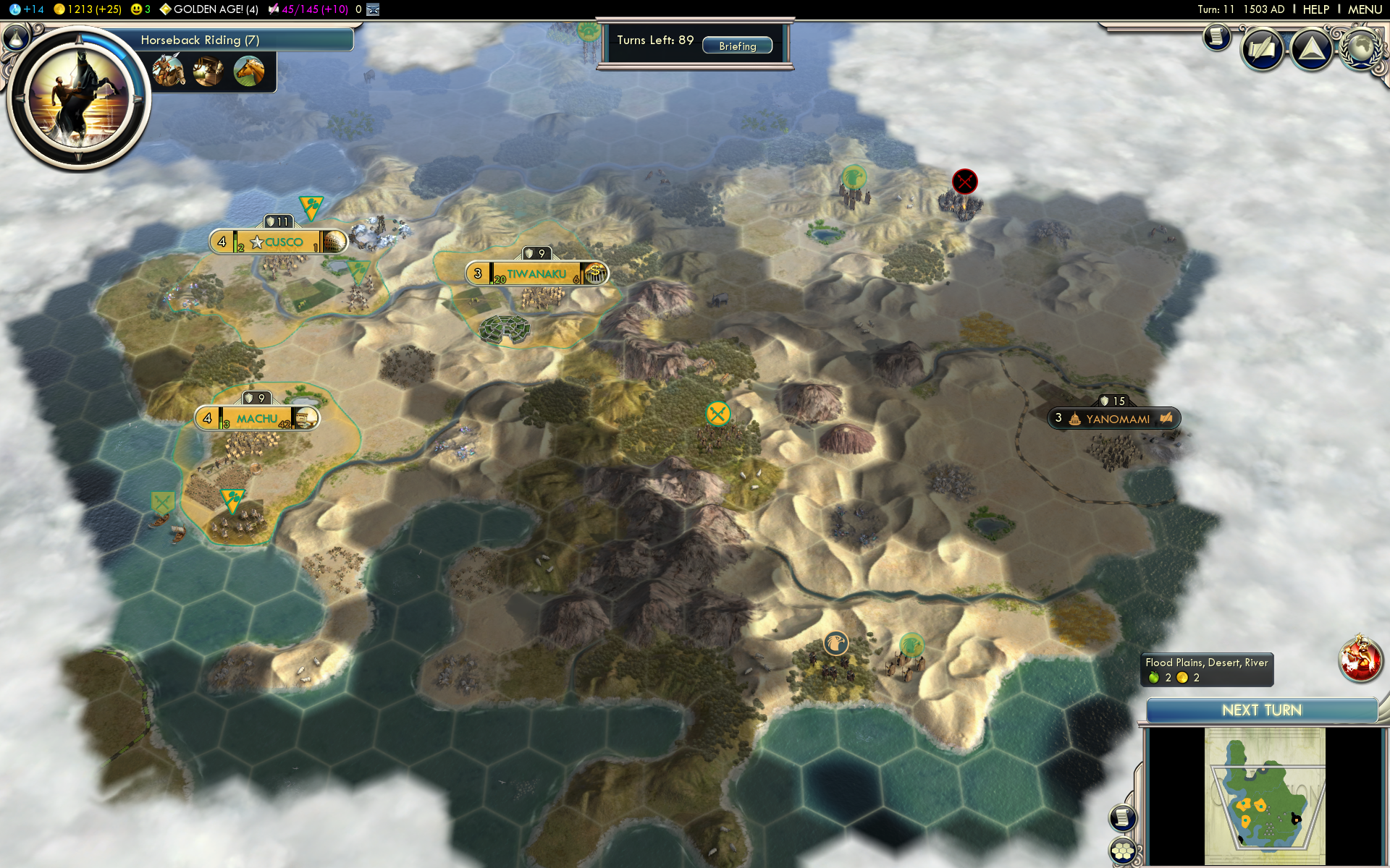 ZeroOne Conquest of the New World game as Inca on turn 11.png - Civilization Game PNG