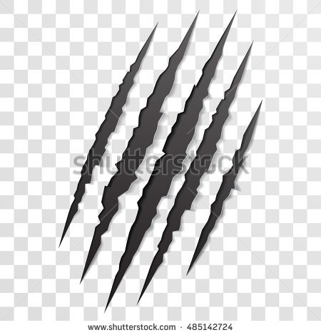 Claw scratch mark. Vector bear or tiger paw claw scratch trace. Shredded  paper - Claw Scratch PNG