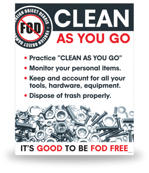 FOD Sign 11x14 Clean As You Go - Clean As You Go PNG
