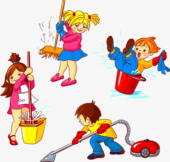Children Clean Cleaning Child PNG And Vector