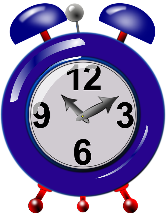 Alarm, Clock, Mechanical, Time, Ringing, Blue - Clock Clipart PNG