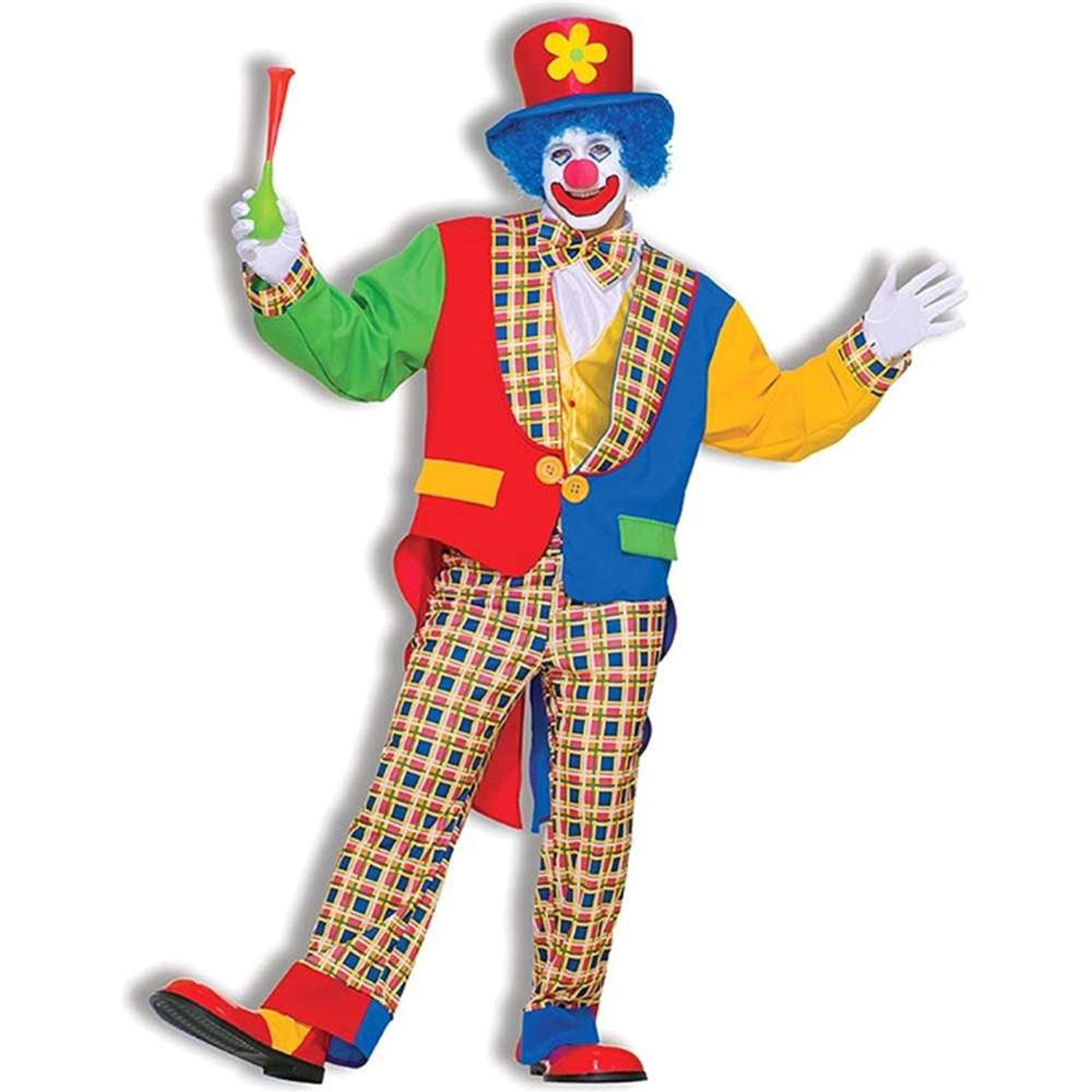 Amazon pluspng.com: Menu0027s Clown On The Town Costume, Blue/Red, One Size: Clothing - Clown PNG