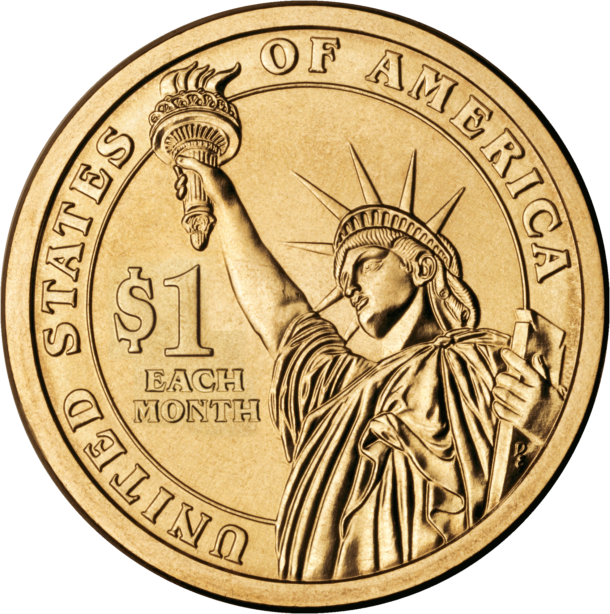 File:Cash Flow Token Coin (One Dollar Each Month).png - Coin HD PNG