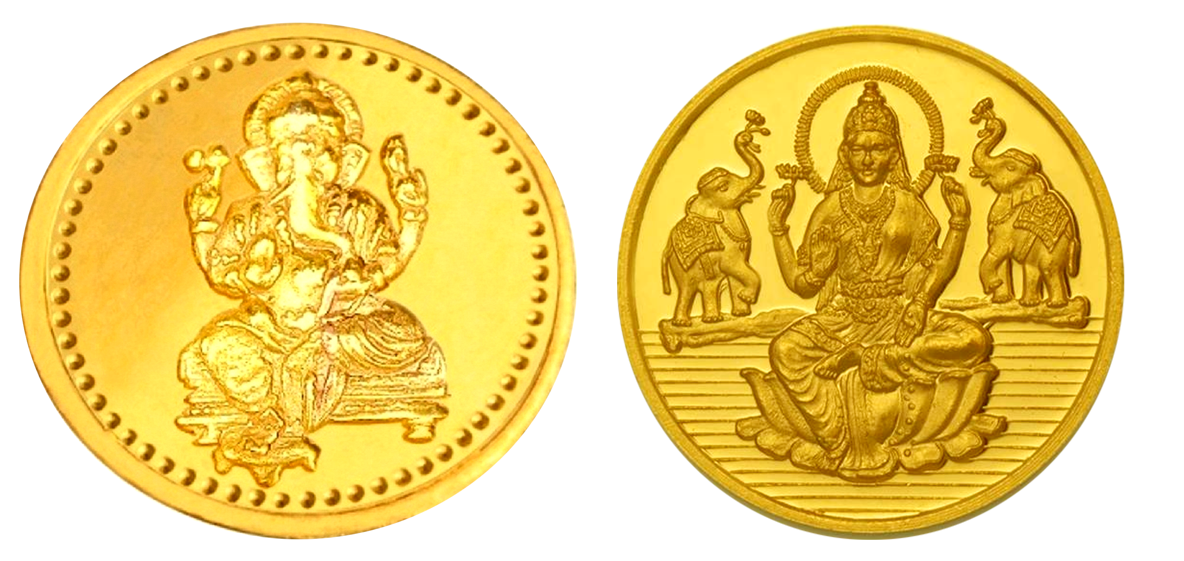 Laxmi and Ganesh images gold coin png - Coin HD PNG