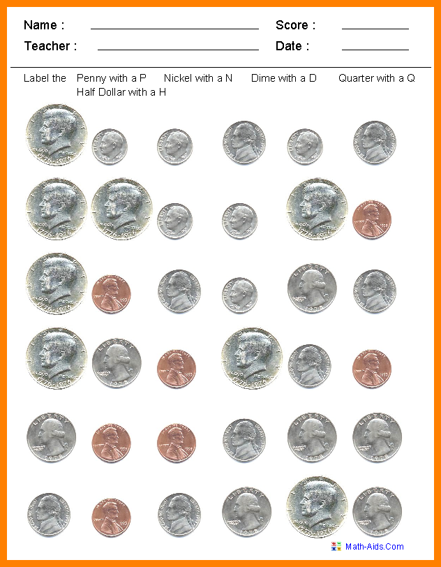 identifying coins worksheets.