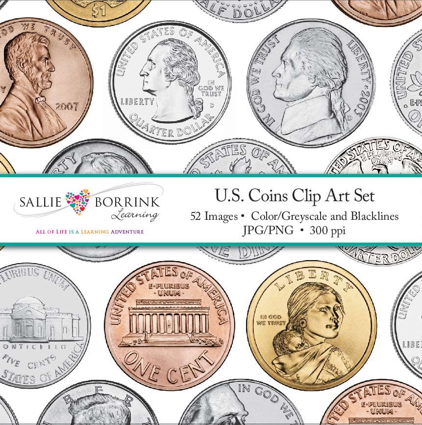 Money Clip Art Includes U.S. Coins - Penny, Nickel, Dime, Quarter, Half - Coins PNG For Teachers
