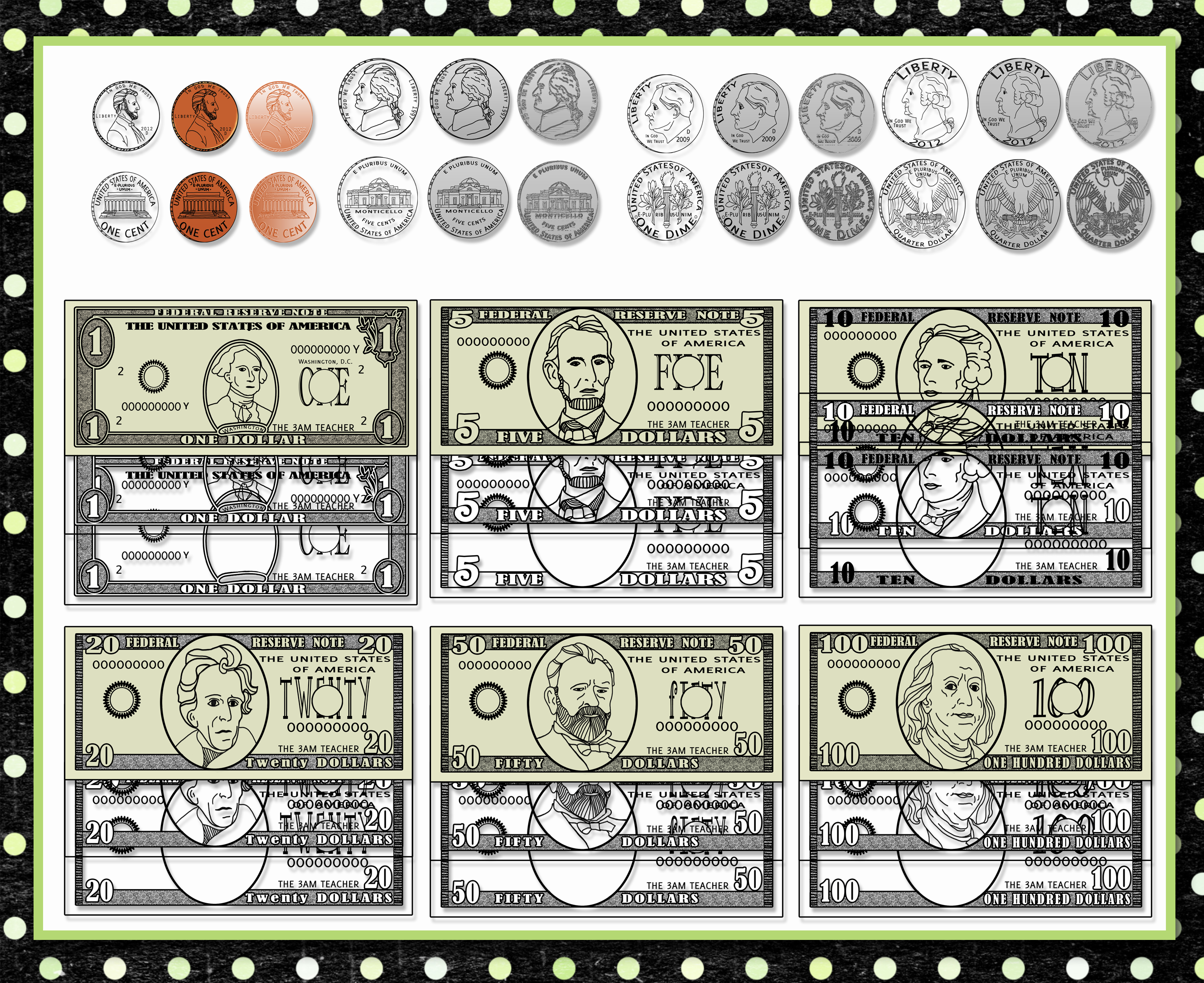U.S. Coins And Dollars Custom Graphics! - Coins PNG For Teachers