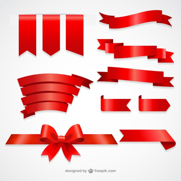Collection of red ribbons - Ribbon PNG