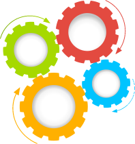 Multi-colored gears - Colorful Gears PNG