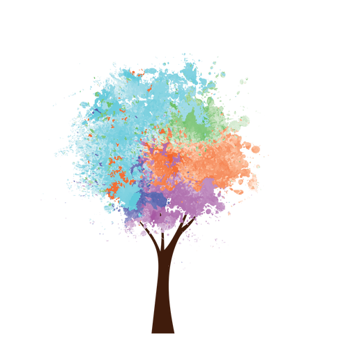 Oil paint colorful tree png - Colorful PNG