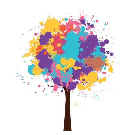 Watercolor colorful artistic tree - Colorful PNG