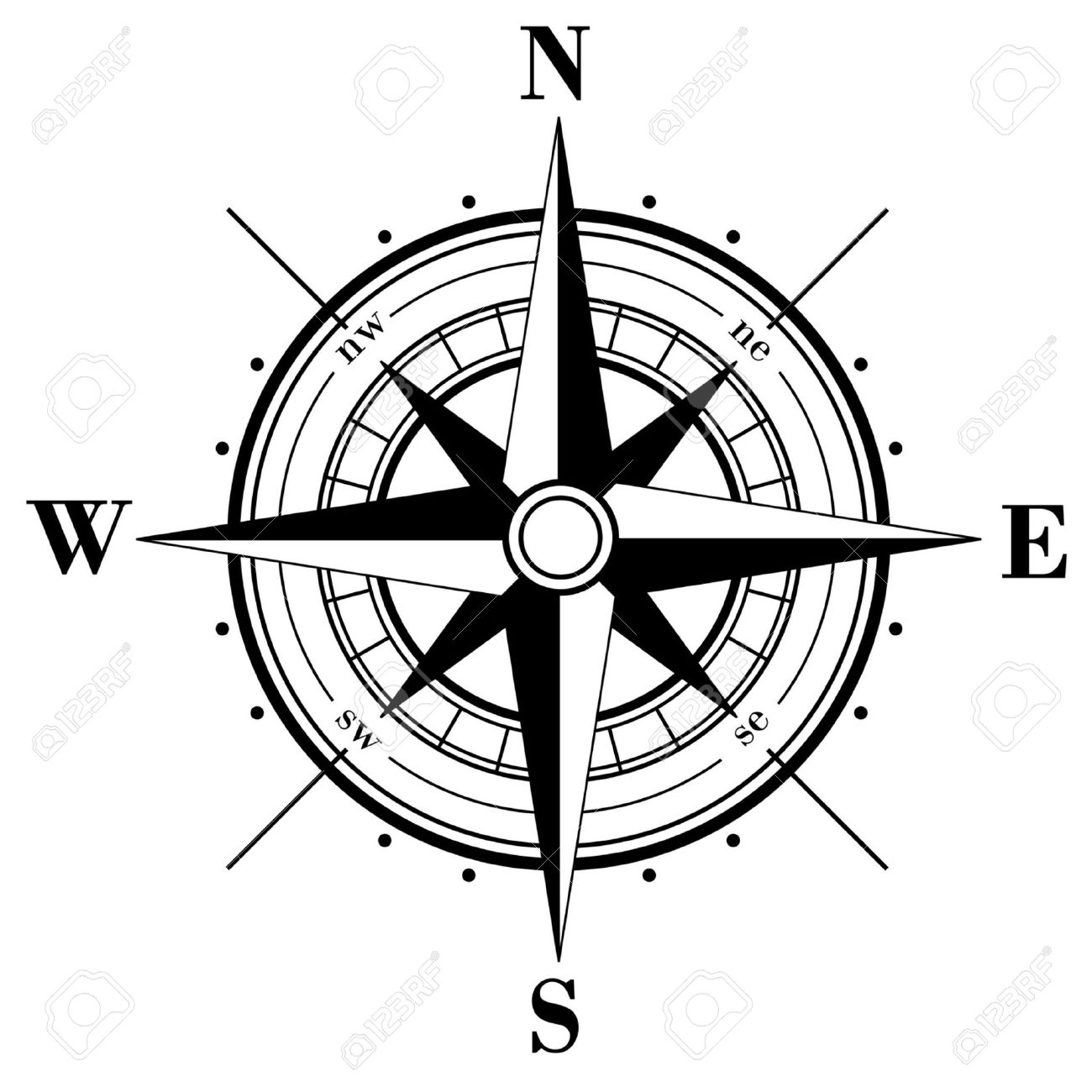 Black compass rose isolated on whte Stock Vector - 3845219 - Compass Rose PNG Black And White