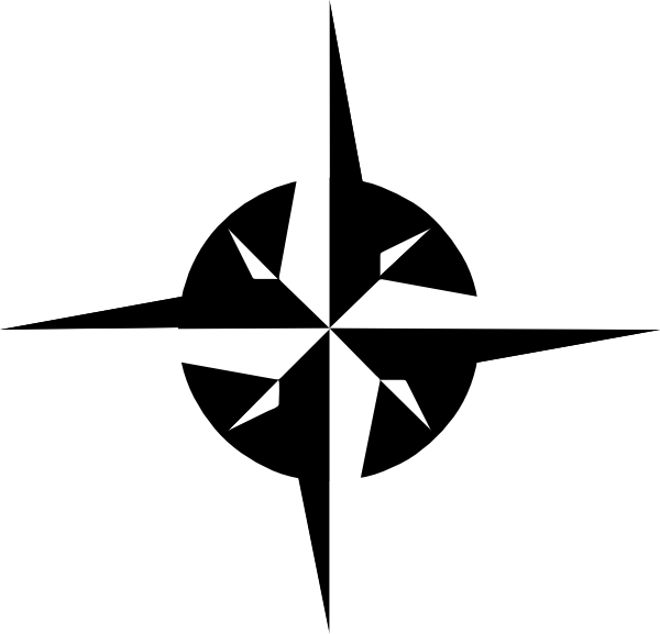 Download this image as: - Compass Rose PNG Black And White
